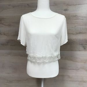 UO Pins & Needles Sheer Lace Crop Top Size Small